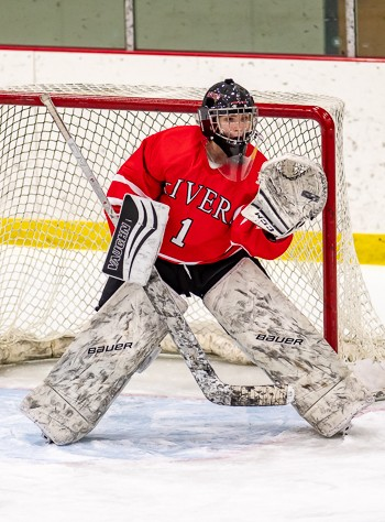 Freshman goaltender Eve Stone turned away 36 of 38 shots to lead Rivers to a 5-2 win over BB&N Wednesday.