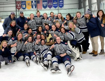 Kent celebrates its first-ever Div. I championship, a game in which they trailed Nobles 1-0 after two, but came out hard in the third, scoring four go
