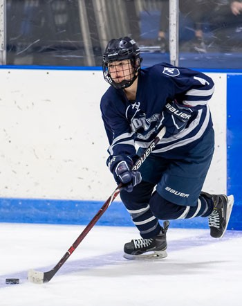 Freshman Kate Ham, shown here in a recent game, scored 2 goals to lead Nobles to a big 4-3 win at Tabor on Sat. Feb. 16th.