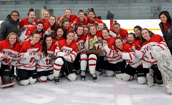Rivers celebrates its D-II Championship Sunday at the Worcester Ice Center. #2 Rivers edged #1 Brooks, 3-1.