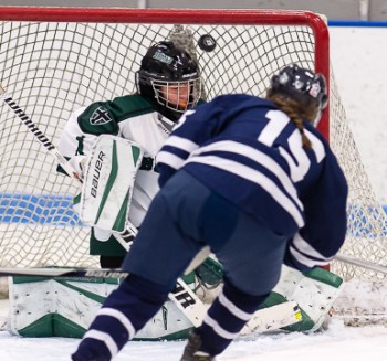 Junior Becca Gilmore beats Brooks goalie Caroline Kukas, giving Nobles the lead with 16 seconds left in the first period en route to a 7-2 victory on
