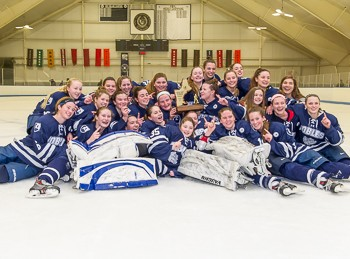 Nobles celebrates its 4-0 shutout of Loomis in the 2016 Div. I girls prep championship game Sun. March 6th.