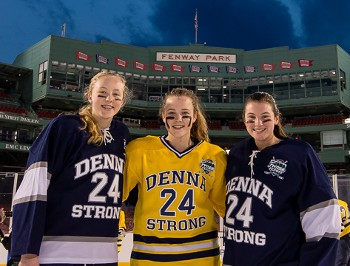 Jenna MacDonald, Lauren Jackson, and Taylor Hyland (pictured L-R) at Tuesday's Denna Laing benefit game at Fenway Park.