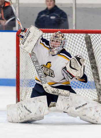 BB&N junior goaltender Rei Halloran was sharp in the 2-1 quarterfinal loss to Nobles.